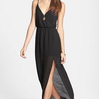 Lush Open Back Chiffon Maxi Dress (Juniors) | Nordstrom