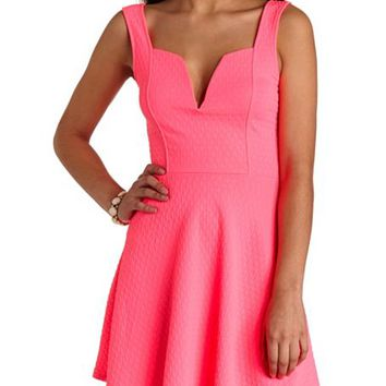 NEON PLUNGING SWEETHEART SKATER DRESS
