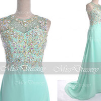 Mint Prom Dresses, 2014 Prom GOwn, Straps with Open Back Lace Chiffon Long Mint Prom Dresses, Mint Fomal Gown, Evening Dresses