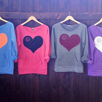 fd Heart Off the Shoulder Girly Sweatshirt. Color and ink color of your choice. Sizes M-XL.