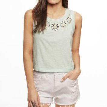 CROPPED BEAD EMBELLISHED TANK