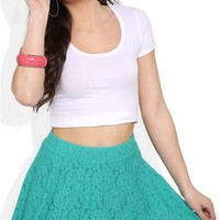 Skater Skirt with Floral Lace