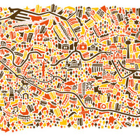 Berlin City Map Poster Art Print by Vianina