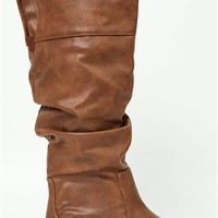 Mid Height Flat Slouch Boot - Clearance