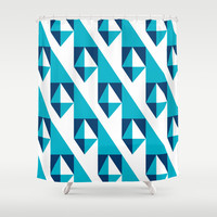 Geometric Pattern 2-Blue Shower Curtain by mollykd