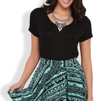 Skater Skirt with Tribal Print