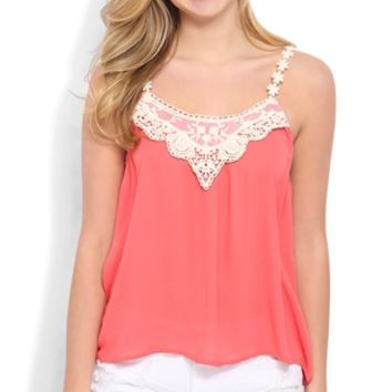 Tank Top with Floral Crochet Straps and Neckline