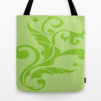 Floral Swirls Green on Green Tote Bag by EML - CircusValley