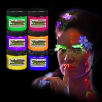 6ct Glominex Glow in the Dark Face and Body Paint 1 oz Jars - Assorted Colors