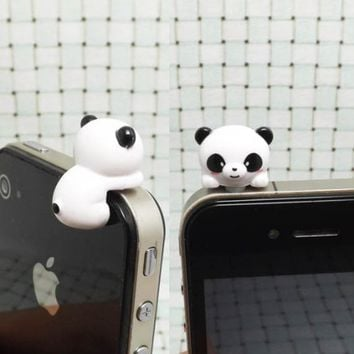 Adorable White Black Bear Hanging Little Panda Dust Plug 3.5mm Phone Accessory Cell Phone Plug iPhone Dust Plug Samsung Plug Phone Charm Headphone Jack Earphone Cap Ear Cap Dust Plug