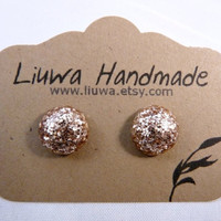 Champagne Glitter Dot Post Earrings Polymer Clay Studs by Liuwa