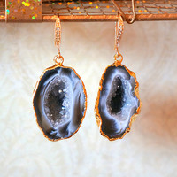 Shimmering Aurora Agate Geode Earrings, Agate Druzy Earrings,Geode Earrings - Geode Jewelry - Druzy Earrings - Druzy Jewelry