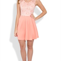 Lace Skater Dress with Illusion Lace Back