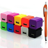 Techview(C001) 10 Colors USB Ac Power Adapter Home Wall Charger Plug for Iphone 4 4s 5s 5c Ipod Touch