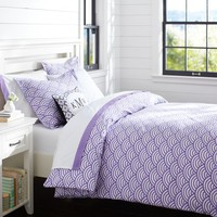 Quincy Scallop Duvet Cover + Sham, Purple