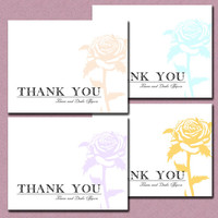 Faded Shabby Rose Casual but Elegant Personalized Thank You Card