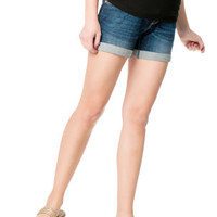 Indigo Blue Secret Fit Belly® Roll Hem Maternity Shorts