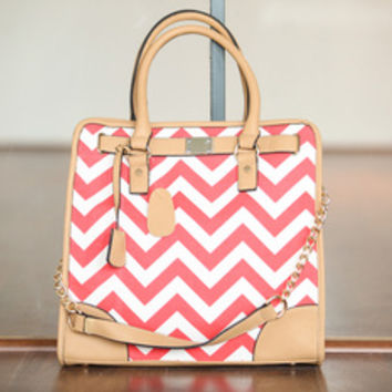 Coral Chevron Tote Bag
