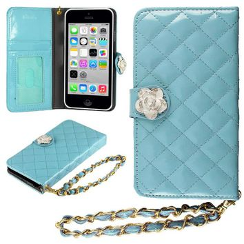 HHI iPhone 5S, 5C & 5 Quilted Purse Wallet Case BLUE with Crystal Flower Bling and Hand Strap (Package include a HandHelditems Sketch Stylus Pen)