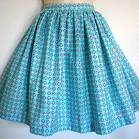 Aqua Geometric Retro 50s Style Skirt / Womens Full by Eclectasie