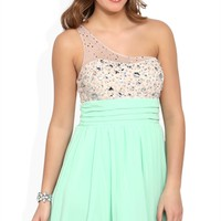 Illusion One Shoulder Short Prom Dress with Stone Bodice