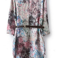 ROMWE Asymmetric Floral Print Belted Crop Slim Dress