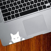 "Black Cat ""Soon..."" - Trackpad / Keyboard - Vinyl Decal (WHITE)"