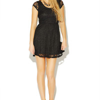 X-Back Lace Skater Dress | Wet Seal