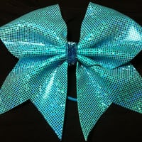 "3"" Cheer Bow-Teal blue sparkle"
