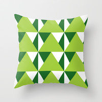 Geometric Pattern 3-Green Throw Pillow by mollykd