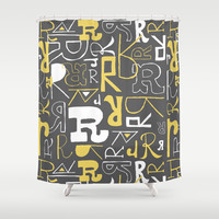 Alphabet pattern 1 Shower Curtain by mollykd