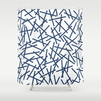 Kerplunk Repeat Navy on White Shower Curtain by Project M