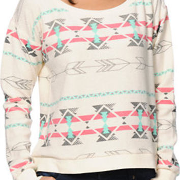 Billabong This Melody Milena White Crew Neck Sweatshirt