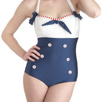 Sailorette at Sea Swimsuit Top in Blue & Red | Mod Retro Vintage Bathing Suits | ModCloth.com