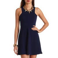 TEXTURED RACER FRONT SKATER DRESS