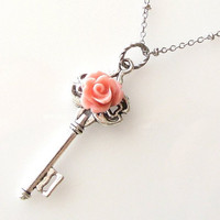 skeleton key necklace with light peach rose, silver necklace by KriyaDesign