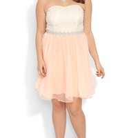 Plus Size Strapless Dress with Daisy Lace Bodice and Pleated Skirt