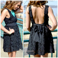 Carrendale Black Crochet Mini Dress