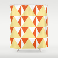 Geometric Pattern 3-Yellow Shower Curtain by mollykd
