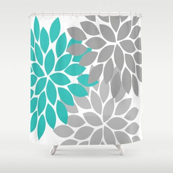 Bold Colorful Turquoise Gray Dahlia From Society6