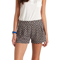 STACKED HIGH-WAISTED CHEVRON PRINT SHORTS
