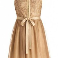 Gold Cocktail Dress - Sleeveless Tulle Dress | UsTrendy
