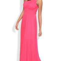 One Shoulder Long Prom Dress with Stone Strap and Ruched Bodice Mobile
