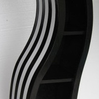 Handmade 5FT curved bookshelf,black and white striped
