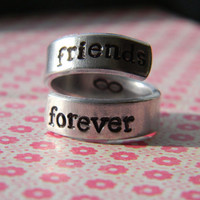 Friends forever infinity sign inside spiral aluminum ring