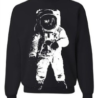 Space Astronaut Man on the Moon White Print Crewneck Sweatshirt by DSC