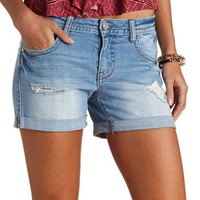 REFUGE BEST BOYFRIEND DISTRESSED DENIM SHORTS