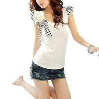 Allegra K Women Dots Print Cap Sleeve Scoop Neck Shirt w Brooch White XS