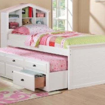 WHITE CAPTAIN TWIN BOOKCASE BED W/TRUNDLE BED AND 3 DRAWERS STORAGE