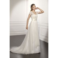 Taffeta Vintage Short Sleeve A-line Sweep Length Wedding Dress